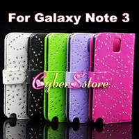 Wholesale Diamond Bling Rhinestone Flower Wallet Flip PU leather Case Cover With Credit Card Slot For Samsung Galaxy Note N9000 III Note