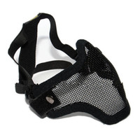 Wholesale New Half Face Metal Mesh Protective Mask Airsoft Paintball Resistant Black