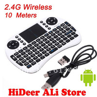 HOT selling! 2.4G Wireless Qwerty teclado wifi com touch pad Air flying esquilo / mouse para telefone / pad / PC / Smart TV