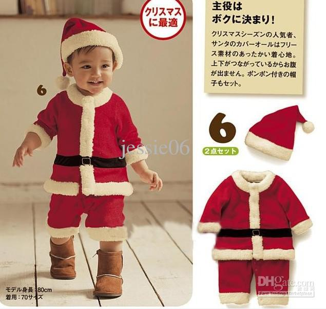 baby girl boy childrens christmas clothes outfits romper sets jumpsuit cap infant kids special occasions winter cotton clothing outwear red online with