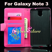 Wholesale Luxury Photo Frame Photoframe Wallet Flip PU leather Case Cover With Credit Card Slot Slots For Samsung Galaxy Note N9000 III Note