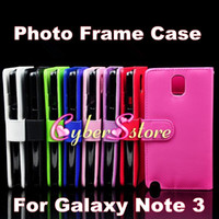 Wholesale HQ Photo Frame Photoframe Wallet Flip PU leather Case Cover With Credit Card Slot Slots For Samsung Galaxy Note N9000 III Note