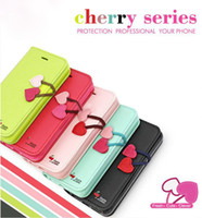 Wholesale Iphone 4s Cute Wallet - Wallet Leather Case Cute Cherry Series Cases for iphone 4 4G 4S 5 Stand Leather Case Cover Credit Card Slot with Retail Package