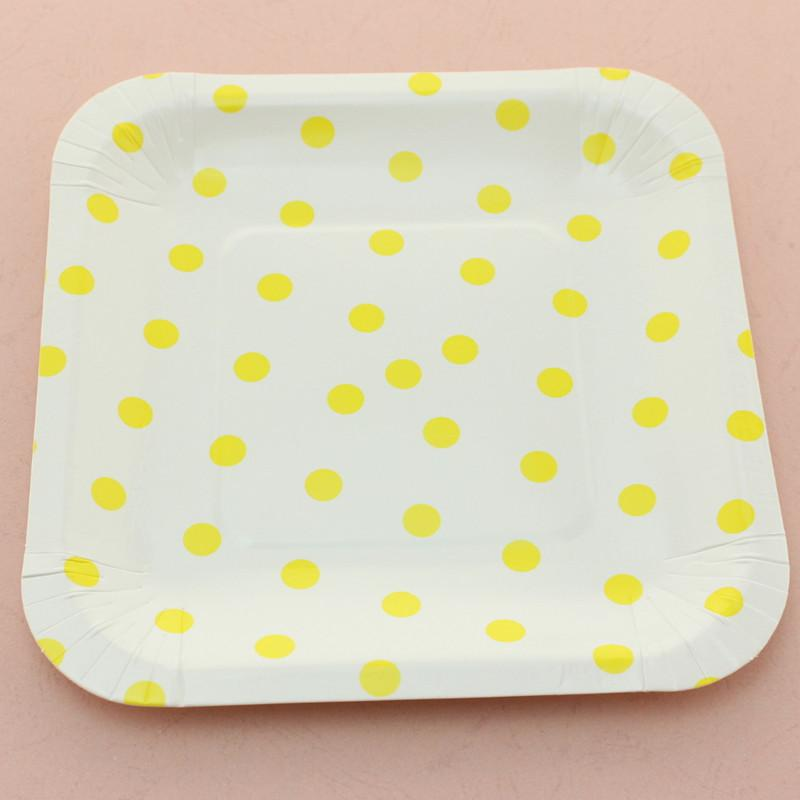 "7"" Creative Yellow Square Polka Dot Paper Plates In Mix Colors Tableware FREE SHIPPING By 720 PCS"