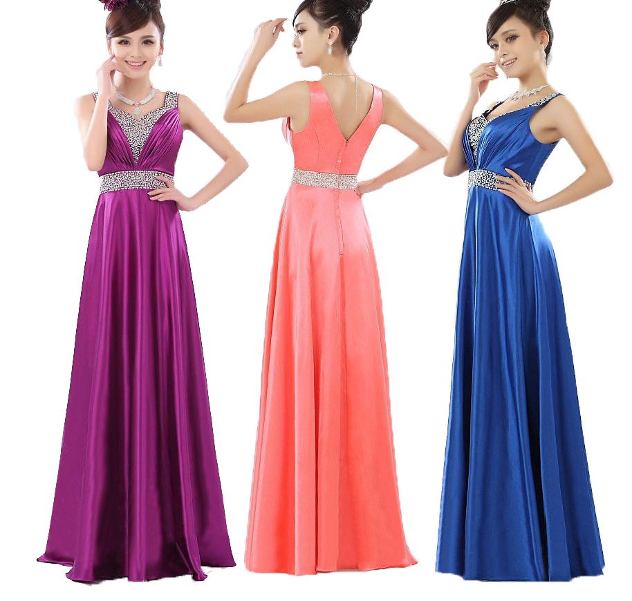 Bridesmaid New Evening Prom Maxi Gown Party Formal V Neck