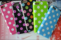 Wholesale Iphone 5c Polka Dot Cover - 2PCS Lovely Candy Polka Dot Dots Wave Point Style Design TPU Soft Silicone Back Cover Case For Apple iPhone 5C iPhone5C