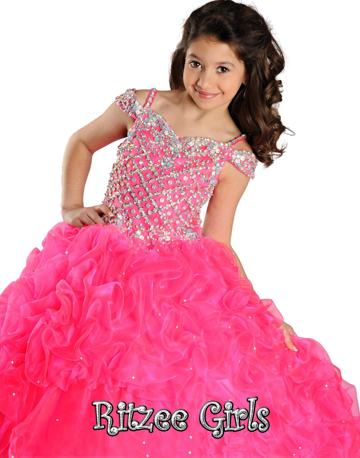 f7a3ef051 Crystal Girls Coral Pageant Dresses Jewel Sleeveless Zipper Back ...
