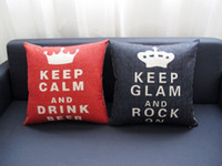 Wholesale Christmas Handmade Gift Pattern - Free shipping Christmas gift Keep Calm and Drink Beer Keep Glam Rock On words Crown pattern cushion cover home decorative throw pillow case