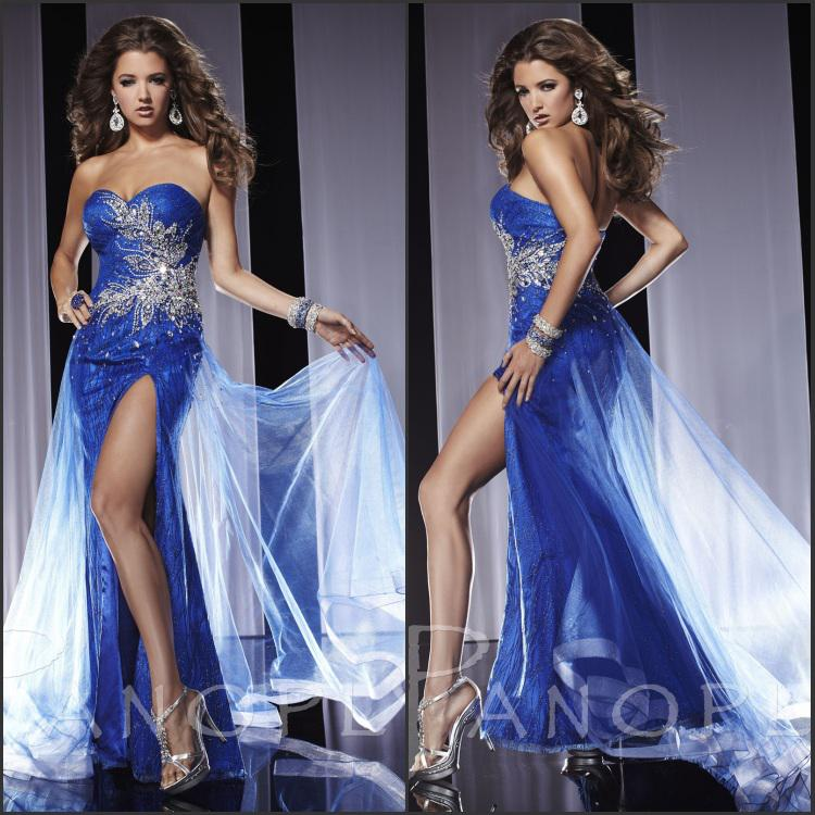 Cheap!!Sexy Amazing Blue Strapless Chiffon Fashion Side Slit Sheath Graceful Beads Ruffles Floor Length Bridefashion Formal Evening Dresses