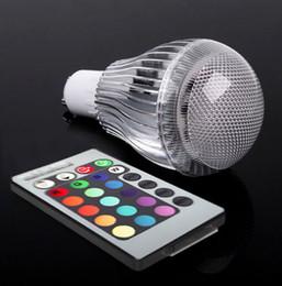 lampadine del marchio di controllo Sconti Commercio all'ingrosso - 9W AC 100-240V E27 LED RGB Lampadina Colorata Lampada da tavolo + Telecomando