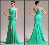Wholesale Dresses Chifon - Custom made 2014 Perfect Chifon one shoulder high slit mermaid Prom Dresses beaded ruffles Evening dresses 3274