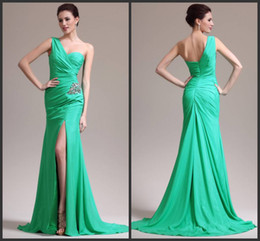 Wholesale Chifon Summer Dress - Custom made 2014 Perfect Chifon one shoulder high slit mermaid Prom Dresses beaded ruffles Evening dresses 3274