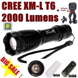 Wholesale X Zoom Flashlight - USA EU Hot Sell E007 CREE XM-L T6 2000Lumens 5 Mode Zoom LED Flashlight Torch + mounts For 3 x AAA or 1 x 18650 - Free shipping