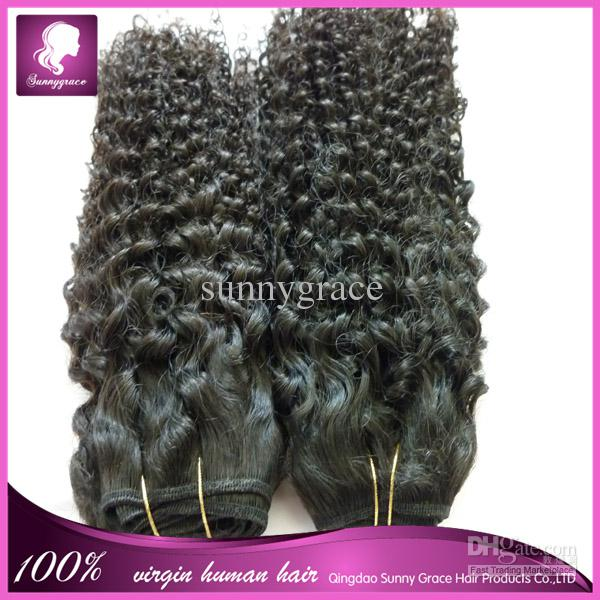 Hot selling human hair weave tight curly natural black Malaysian hair from Sunny Grace Hair Company