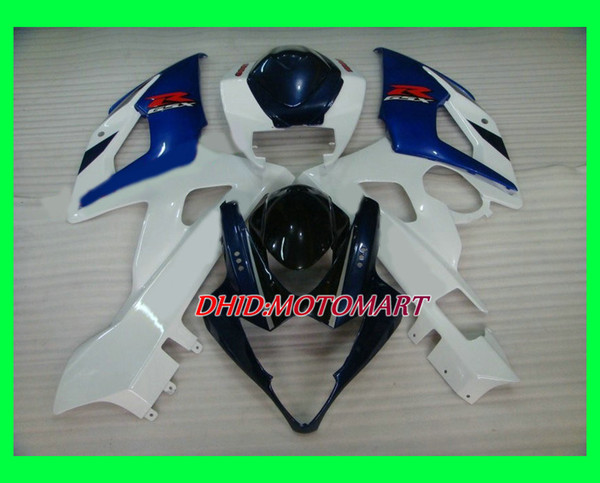 Injection Mold Fairing kit for SUZUKI GSXR1000 2005 2006 GSX R1000 GSXR 1000 K5 05 06 ABS White blue Fairings Set+gifts SG13