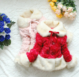 Wholesale Baby Girl Red Fur Coat - Wholesale - Free shipping 3pcs lot winter Children's clothing baby girls coats Solid plush padded jackets thick Fur Coats kids clothes