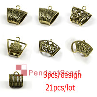 Wholesale 14k Bail - 21PCS LOT Hot Fashion 7 Designs Mixed DIY Jewellery Scarf Pendant Antique Bronze Plated Mental Alloy Slide Bails Tube, Free Shipping, ACMIX