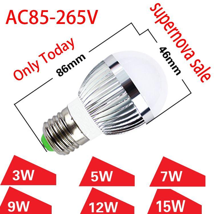 Free Shipping 3W 5W7W9W 12W 15W LED Bubble Ball Bulb High Power E27 GU10 E14 B22 Dimmable Lamp Light,AC85-265V,supernova sale