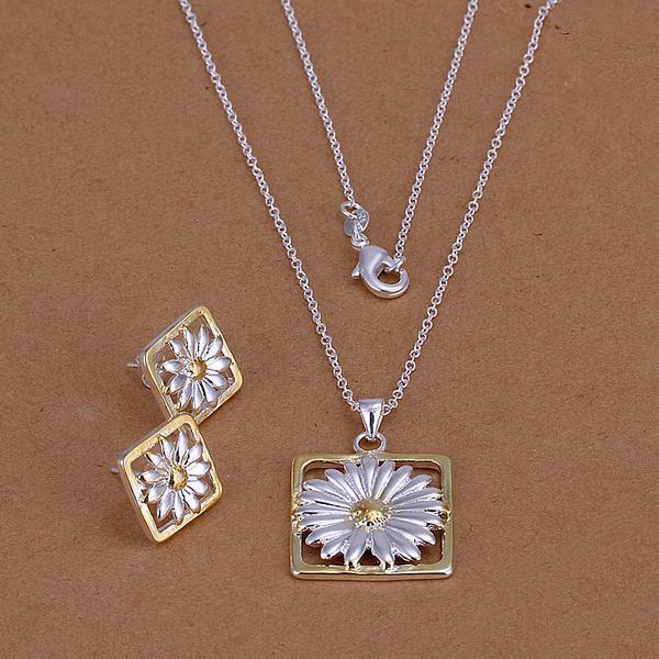 Al por mayor - precio más bajo Regalo de Navidad 925 Sterling Silver Fashion Necklace + Earrings set QS086