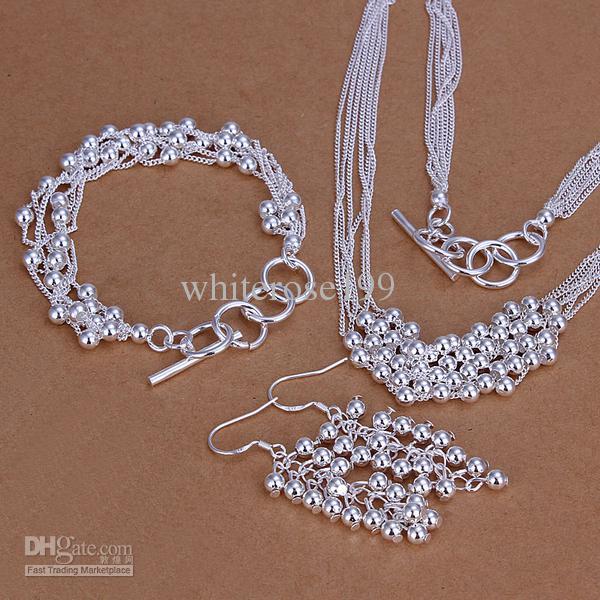 Großhandel - niedrigster Preis Weihnachtsgeschenk 925 Sterling Silber Fashion Halskette + Ohrringe Set QS091