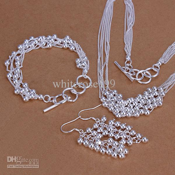 Wholesale - lowest price Christmas gift 925 Sterling Silver Fashion Necklace+Earrings set QS091