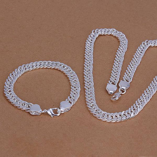 Wholesale - lowest price Christmas gift 925 Sterling Silver Fashion Necklace+Earrings set QS094