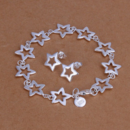 Wholesale - lowest price Christmas gift 925 Sterling Silver Fashion Necklace+Earrings set QS098 on Sale