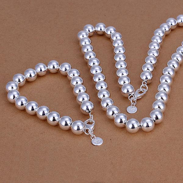 Wholesale - lowest price Christmas gift 925 Sterling Silver Fashion 10mm Hollow Necklace+Earrings set QS101