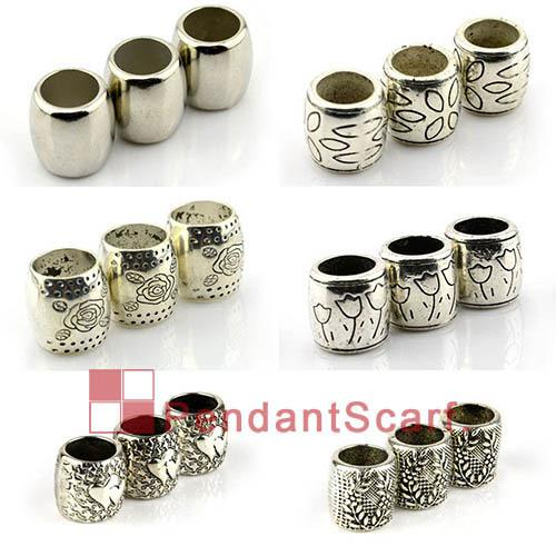 Hot Sale 6 Designs Mixed DIY Jewellery Pendant Scarf Accessories Plastic CCB Slide Bails Charm Tube Charm, ACMIX1