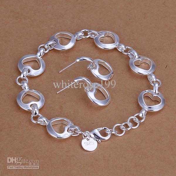 Al por mayor - precio más bajo regalo de Navidad 925 Sterling Silver Fashion Necklace + Earrings set QS102