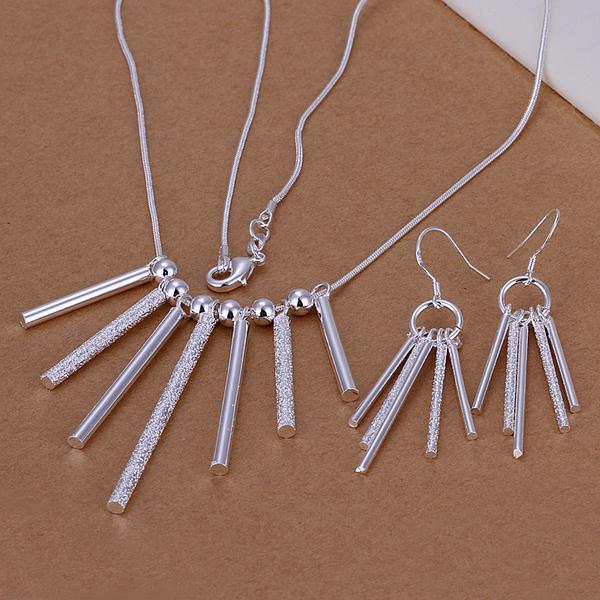 Großhandel - niedrigster Preis Weihnachtsgeschenk 925 Sterling Silber Fashion Halskette + Ohrringe Set QS107