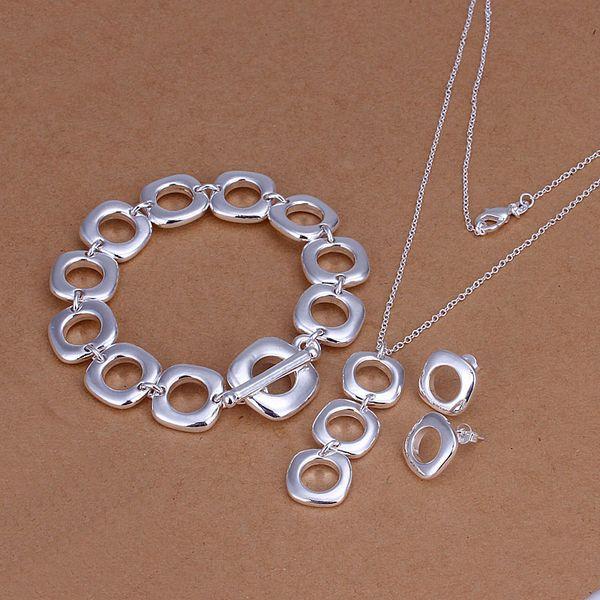 Großhandel - niedrigster Preis Weihnachtsgeschenk 925 Sterling Silber Fashion Halskette + Ohrringe Set QS108