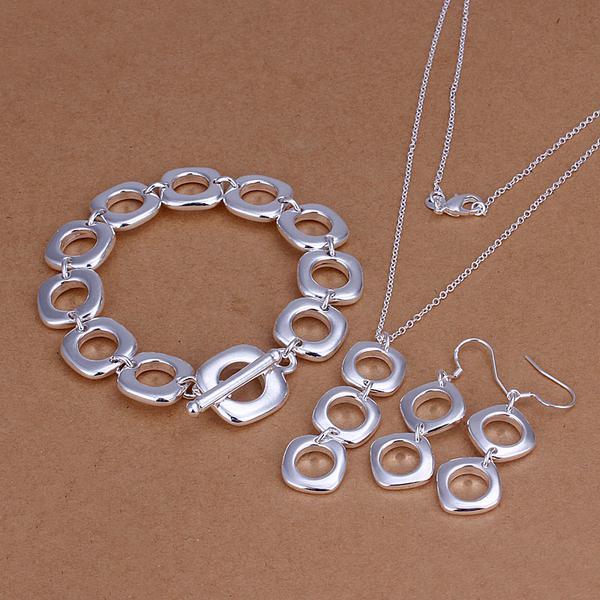 Großhandel - niedrigster Preis Weihnachtsgeschenk 925 Sterling Silber Fashion Halskette + Ohrringe Set QS109