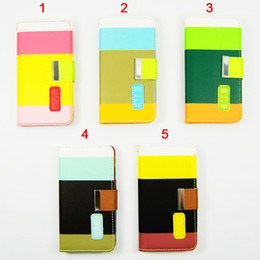 Wholesale One M4 - Newest Coloful Mix Match Phone Case Leather Wallet Stand Case for HTC M4(One MINI) ,50pcs lot,DHL Free Shipping