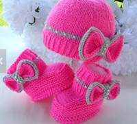 Wholesale Crochet Hat Wholesale China - 35%off 2-COLOR!Rose red bow hat. High to help warm pearls, crochet shoes cheap china baby wear shoes sale kid shoes shoes online 2sets