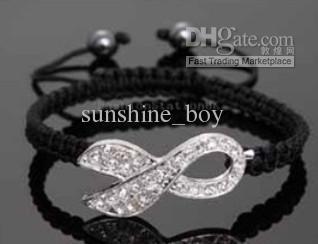 Rhinestone rosa Crystal Ribbon White Rhinestone Charms Conciencia del cáncer de mama Macrame Pulseras ajustables