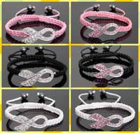 pulseiras de mama ajustável venda por atacado-Rosa strass fita de cristal encantos conscientização do câncer de mama macrame pulseiras ajustáveis cores para escolher