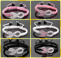 Pink Rhinestone Crystal Ribbon White Rhinestone Charms Breast Cancer Awareness Macrame Pulseiras ajustáveis