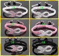 ingrosso nastro in vendita rosa caldo-Vendite calde Mix Colore Bianco Rosa Crystal Pink Ribbon Breast Cancer Awareness Bracelet Gift