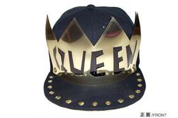 Wholesale Studded Hats Men - Metal Plate QUEEN Baseball Caps Adjustable Studded Hats Snapback Rivet Hats Spike Studs Cap Punk Style Hat Unisex Hiphop Cap Men stage hats