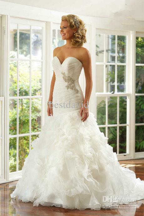 New Sweetheart Beaded Mermaid Wedding Dresses 2013 Organza Fluffy Layered Pleated Chapel Train Diamond Collection Designer 5615t Dress Lace