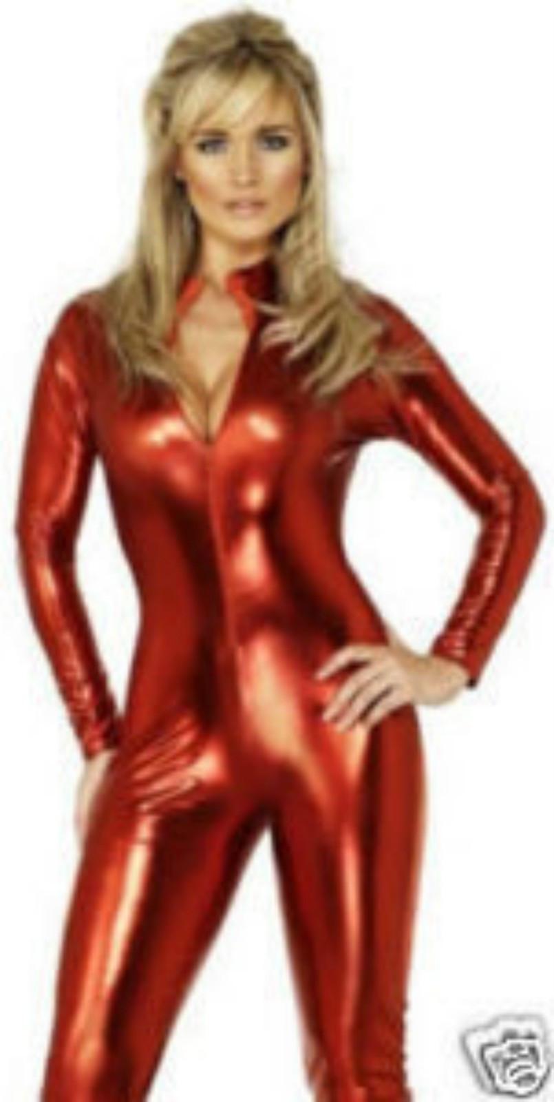 Großhandel Zentai Metallic Lycra rot. schwarz.Silver Spandex zurück Reißverschluss Catsuit Größe S ~ XXL