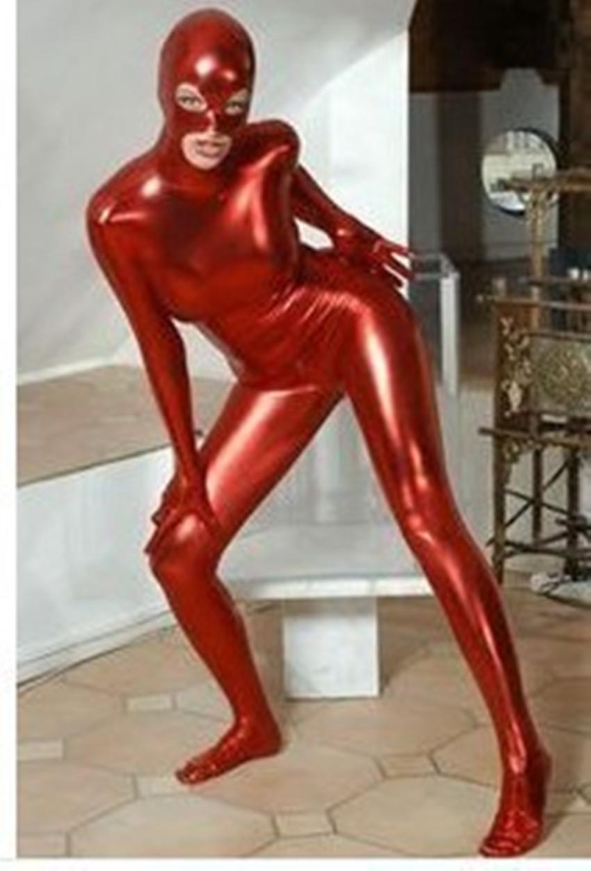 venta al por mayor Zentai Metallic Lycra rojo .black.Silver Spandex Cremallera trasera Catsuit Talla S ~ XXL