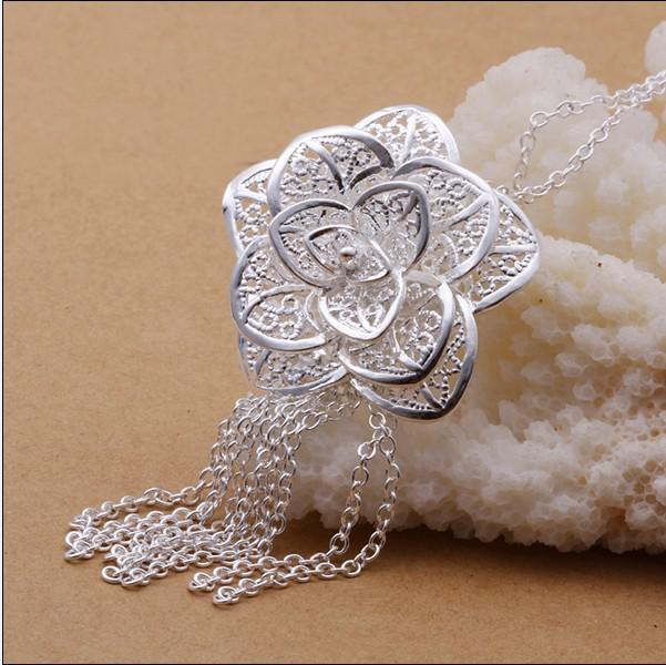 Fashion party jewelry 925 silver flower pendant necklace Christmas gift