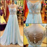 Wholesale Ice Blue Chiffon - Sexy Long Prom Dresses Amazing Fashion Ice Sky Blue Chiffon A Line Graceful Beads Ruffles Formal Evening Dresses
