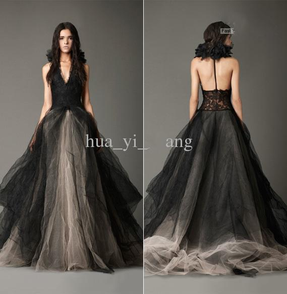 Vintage Black Wedding Dresses Princess Halter Lace Appliques Bridal Gown Tulle Birdal Gown Shabby