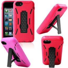 Wholesale Iphone5c Hard - for iphone 5C Shock Proof Impact Hybrid Stand Silicone cellphone Hard Case Phone Cover Skin for iPhone 5C iPhone5C 100 up