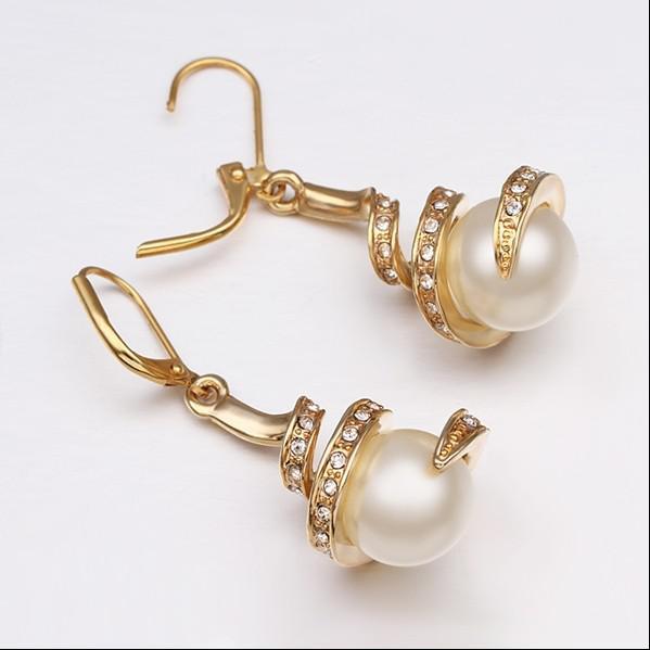 De calidad superior 18 K chapado en oro perla rhinestone pendientes de moda regalo de boda joyería envío gratis 10 par / lote