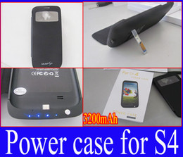 Wholesale Extra Power - Wholesale - Power Bank Backup 3200mah Extra Battery Emergency Charger Case FOR Samsung S4 Leather Flip Cover Retail Packaging Free shipp