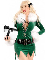 Wholesale Costume Santa Claus Woman Sexy - Free shipping Sexy Christmas Costumes For Women Elf Dress with Deluxe Swan Feathers Set Velvet Costume Outfits Plus size C1558